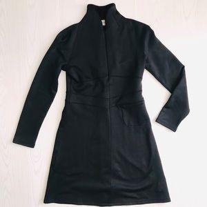 Athleta Fleece Lined Quarter Zip Black Dress Med